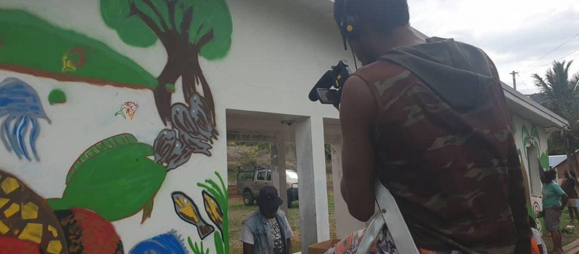 Tournage sur des actions menées par des jeunes de Pouébo (Mwaa Dja)